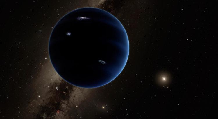 Vue d'artiste de la 9e planète supposée du Système solaire.