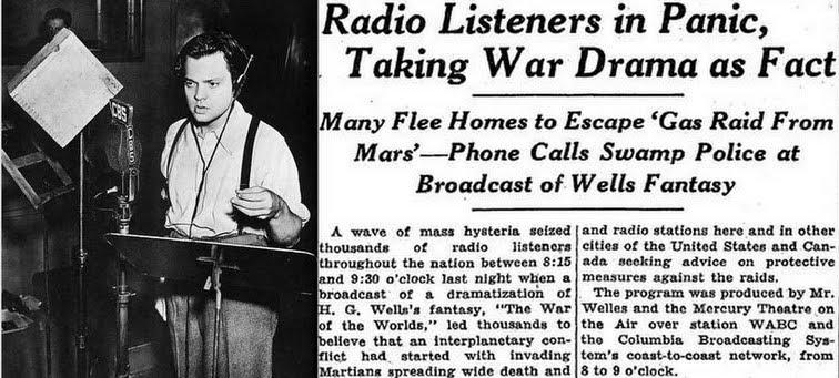 Les journaux sur la guerre des mondes d'Orson Welles
