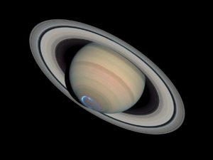 Aurore au pole sud de Saturne