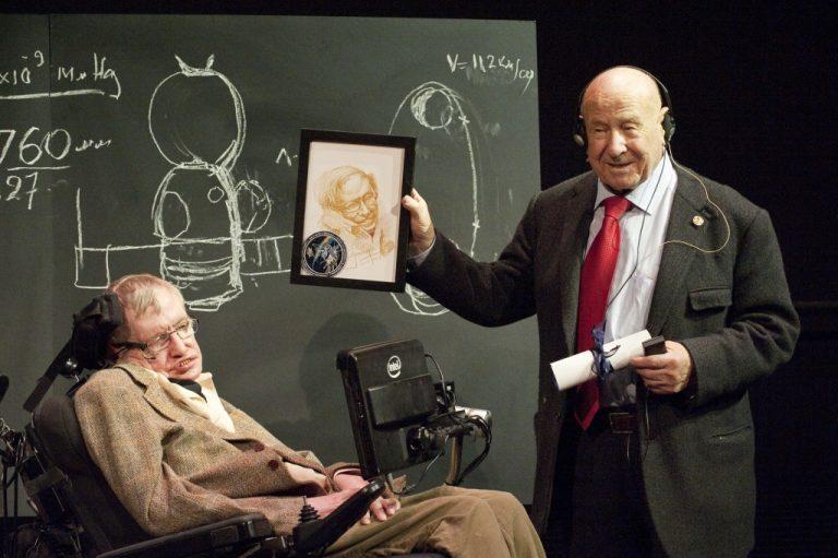 Alexei-Leonov-montre son dessin a-Stephen-Hawking