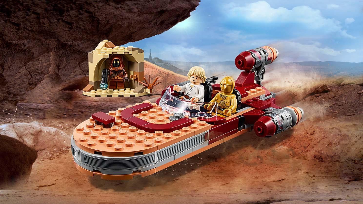 LEGO Star Wars, Le landspeeder de Luke Skywalker avec figurine de Jawa, Série Un nouvel espoir